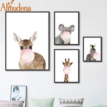 ALMUDENA Minimalistic Framed Elk Koala Giraffe Painting Nordic Cartoon Animal Canvas Art Poster Bedroom Decoration Picture(China)