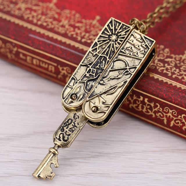 Lolita Vintage Jewelry Grimm key Necklace Mechanical Nick Burkhardt Pendant Necklace For Men And Women