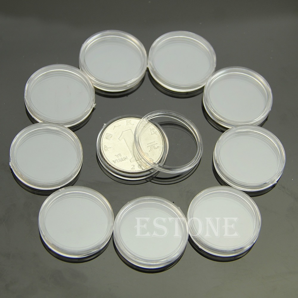 10 PCS Applied Clear Round Cases Coin Storage Capsules Holder Round Plastic 23mm 28mm 38mm