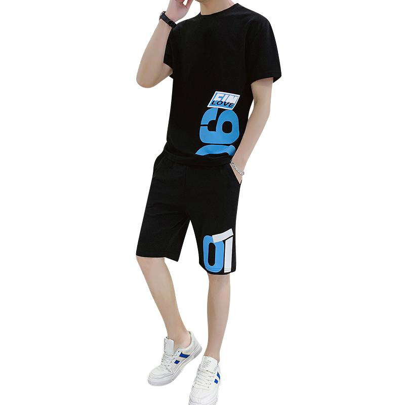 Two Piece Set Men Short Sleeve Men Tracksuits T Shirt Cropped Top+Shorts Streewear O-Neck Causal Sportswear Tops Short Trousers