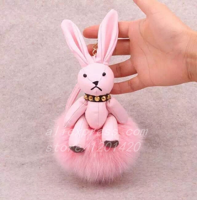Cute Rabbit  Shaped With Fur Pompom Key Chain Handbag Charm Bag Bug Lovely Bunny Car Key Ring Bag Charm Wallet Purse Charm Gift