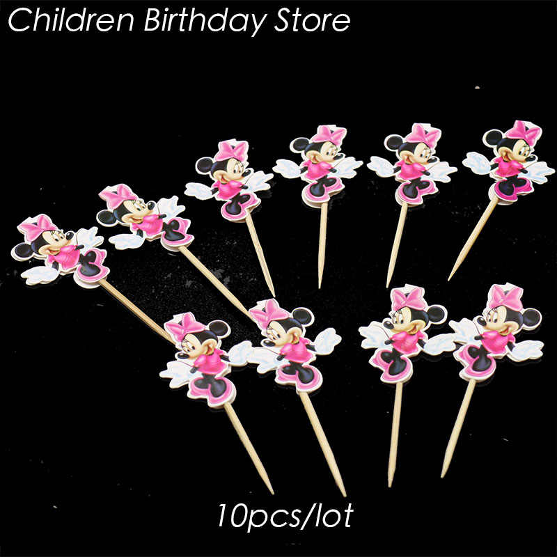 Astonishing 10Pcs Lot Minnie Mouse Cake Topper Minnie Mouse Birthday Party Funny Birthday Cards Online Necthendildamsfinfo