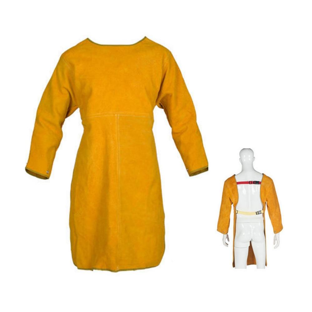 LB003 Long Heavy SplitLeather Welding Cloth HEAT RESISTANT & WEAR RESISTANT - For Tig Welders/Mig/Fireplace/Stove/BBQ