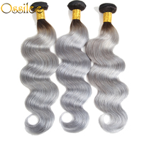 Ossilee Ombre Body Wave Bundles 1b Grey Hair 10 26 Remy Hair Brazilian Human Hair Two Tone Color 3 Bundles