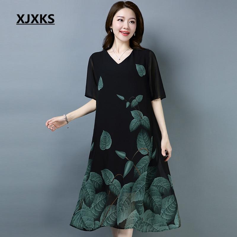 39528621a126 XJXKS Ladies Clothing Linen And Chiffon Dress V neck High end Loose Hem  Summer Cool Women s Dresses For Gift -in Dresses from Women s Clothing on  ...