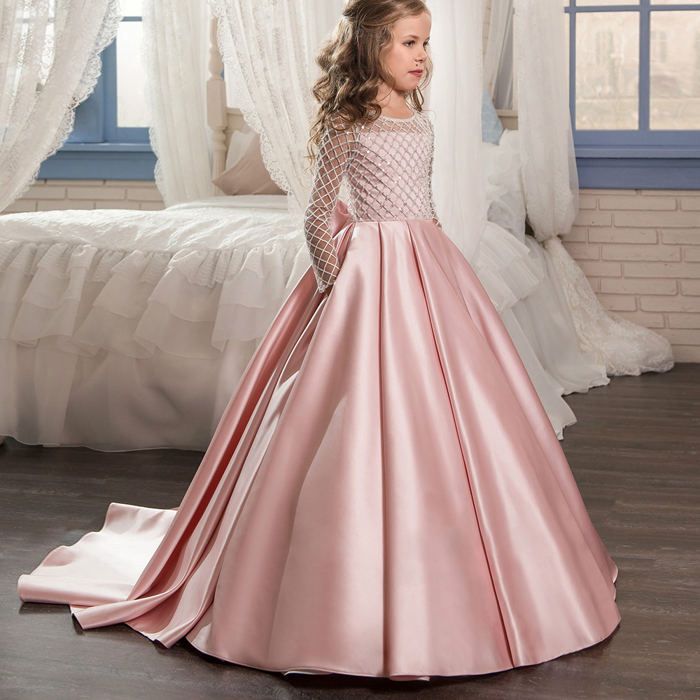 Aibaowedding Fancy Flower Girl Dresses Draped Long Sleeves First Communion Dress Pink Tulle Ball Gowns for Kids Glitz 0-12 2018