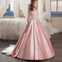 Christmas Fancy Flower Girl Dress Floor Length Button Draped Pink Long Sleeves Tulle Ball Gowns For