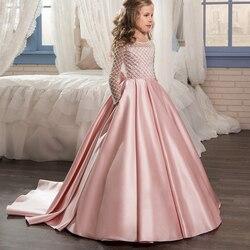 Aibaowedding Fantasia Abiti fiore per le ragazze Drappeggiato Maniche Lunghe Prima Comunione Vestito Rosa di Tulle Abiti di Sfera per I Bambini Glitz 0-12 2018