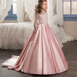 Aibaowedding elegante vestidos de niña de las flores Vestido de manga larga vestido de primera comunión tul Rosa bola vestidos para niños brillo 0- 12 2018