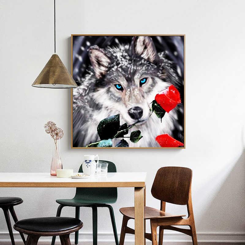 Cutiepop 5D bricolage diamant peinture Animal loup et rose plein diamant broderie 3D diamant mosaïque peinture cadeaux décor à la maison