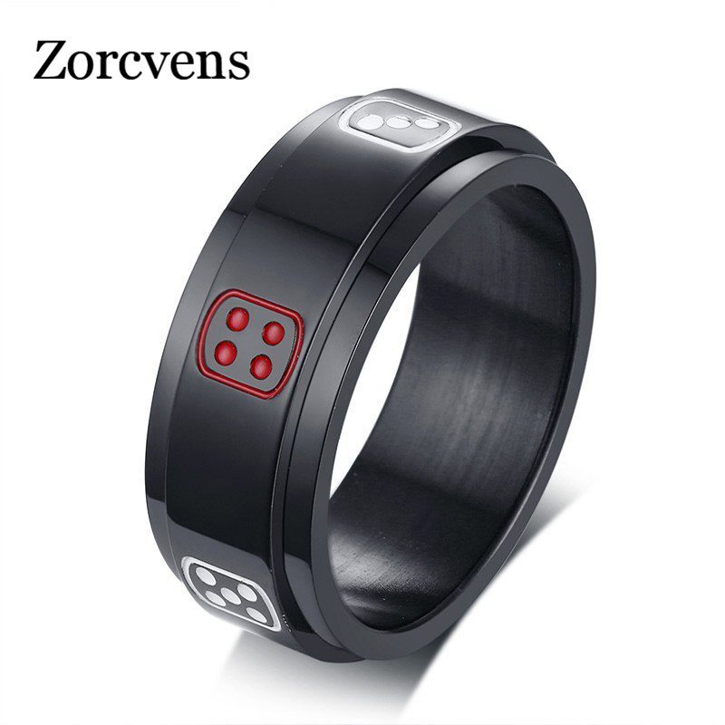 Steady Zorcvens Spinner Anel Masculino Black Aneis Masculino Stainless Steel Lucky Fortune Craps Charm Finger Rings For Men Gifts Shrink-Proof Jewelry & Accessories