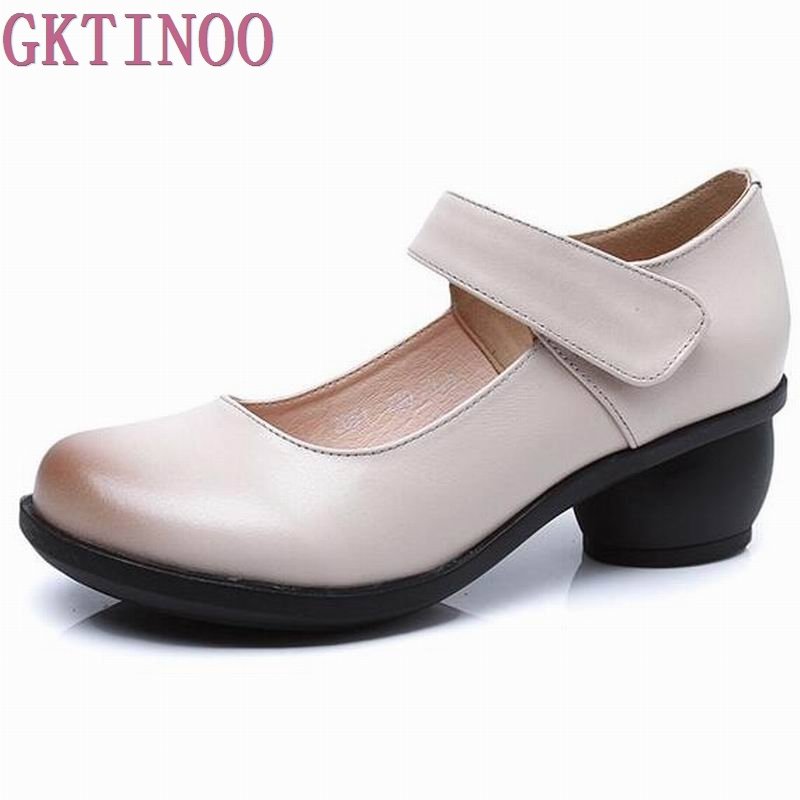 2018 Spring Autumn Shoes Woman 100% Genuine Leather Women Pumps Lady Leather Round Toe Platform Shallow Mouth Shoes #2051 women shoes spring autumn 100