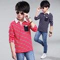 Nova chegada das crianças das crianças primavera outono roupas meninos grandes camisas da escola de alta qualidade meninos camisas listradas de manga longa