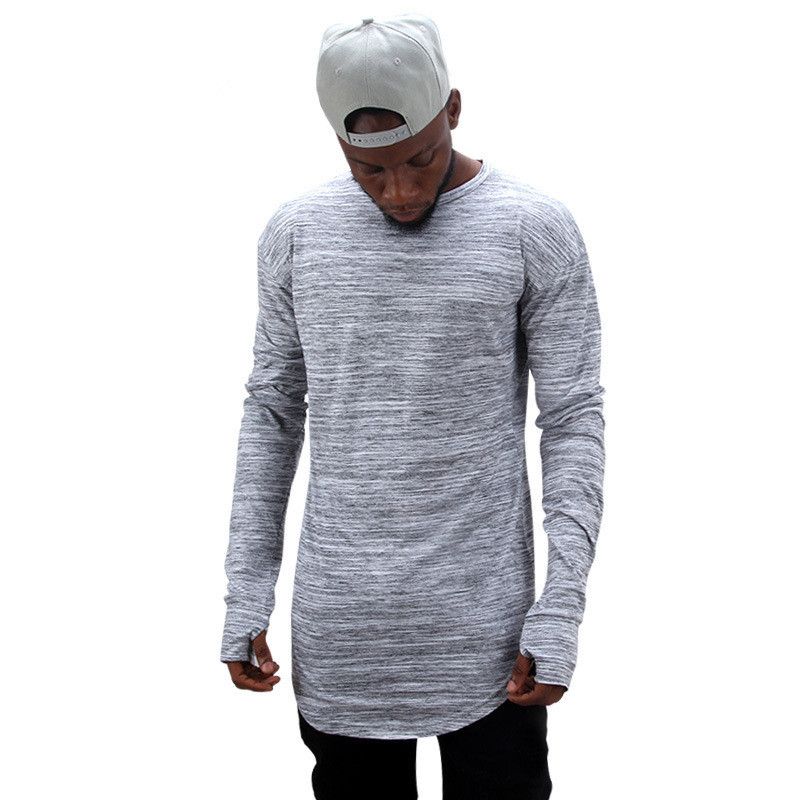 New 2018 Summer extend hip hop street T-shirt wholesale fashion brand t shirts men long sleeve oversize design hold hand S-2XL