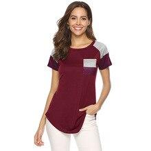 YZ Women's T-shirt 2019 Summer New Female T-shirt Stripes Pockets Stitching Loose Short Sleeves Tee Shirt Femme burgundy side pockets long sleeves loose t shirt