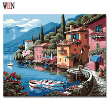 WEEN Castle and Boat Pictures Painting By Number On Canvas DIY Oil Landscape Digital Lake Coloring For living Room
