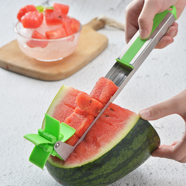Arsmundi Kitchen Accessories Creative Watermelon Windmill Slicer Stainless Steel Windmill Type Vegetable Cutter Kitchen Gadgets