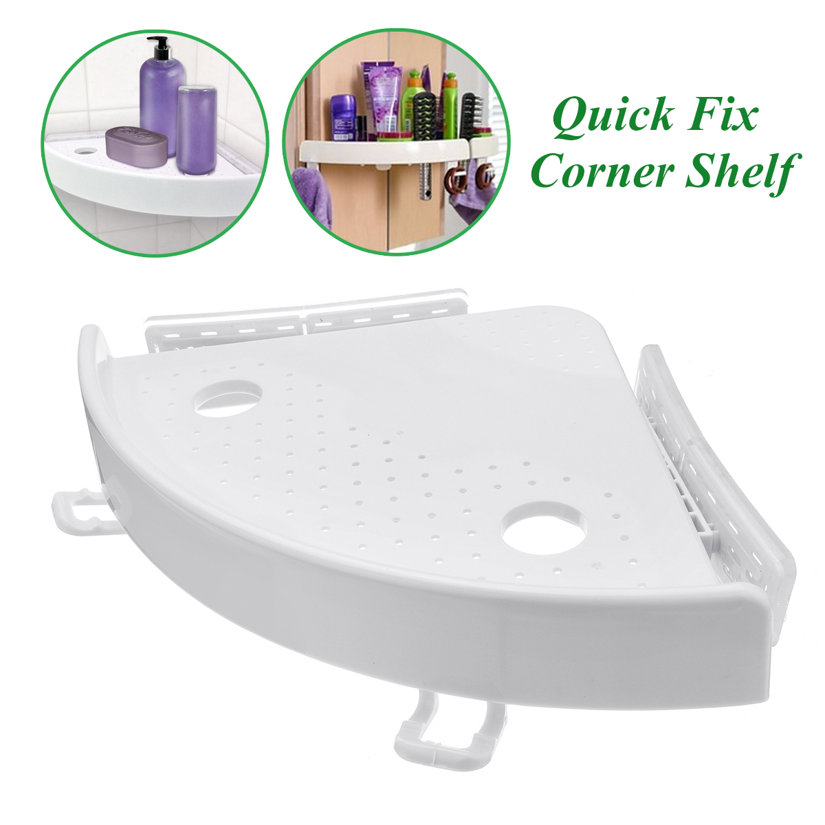 Bathroom Kitchen Corner Shelf Wall Suction Cup Bathroom