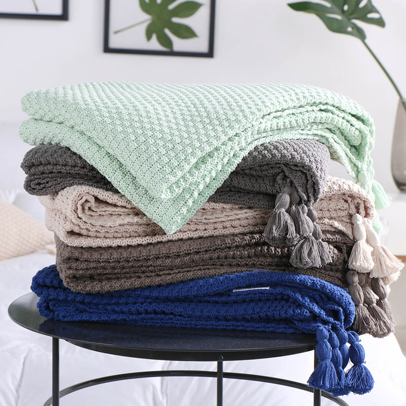 100% Cotton Kintting Blankets 5 colors Throw Blanket on the Bed Sofa/Bed/Plane/Travel Plaids Bedding Set 130x170 cm  american lattice blanket sofa decorative slipcover throws on sofa bed plane travel plaids rectangular color stitching blankets