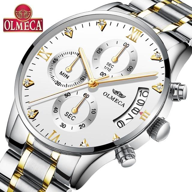 OLMECA גברים של שעון יוקרה האופנה נירוסטה שעוני יד צבאי יהלומי גדול חיוג לבן שעון Saat Relogio Masculino