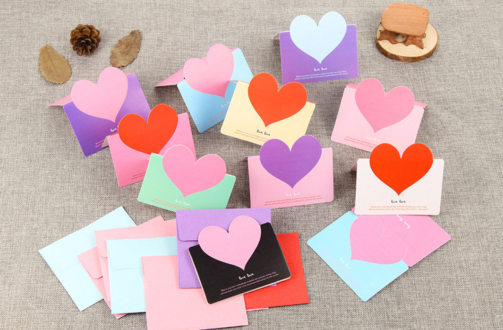 5pcs/lot Mini Lovely Envelope With Heart Card Style Message Card Letter For Card Scrapbooking Gift Korean Statonery Papelaria