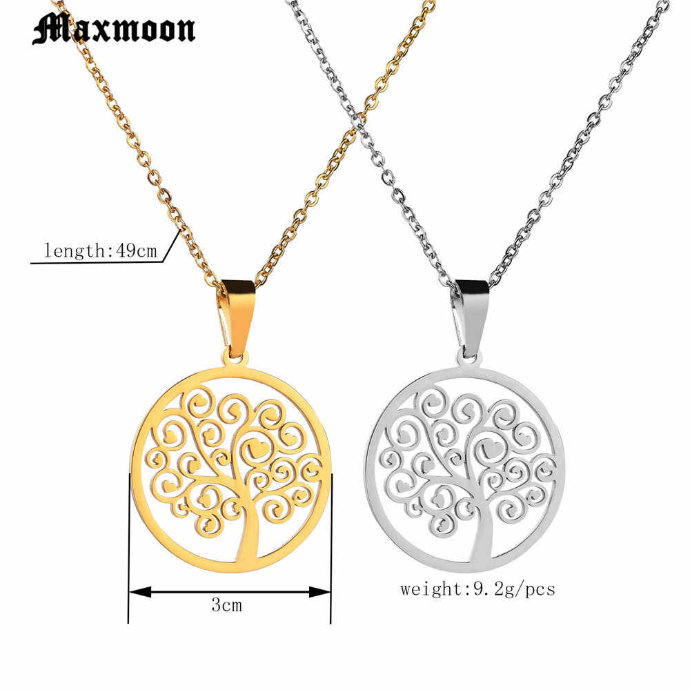 Maxmoon Hot Tree of Life รอบจี้สร้อยคอเงินสี Bijoux Collier Elegant ผู้หญิงเครื่องประดับของขวัญ Dropshipping