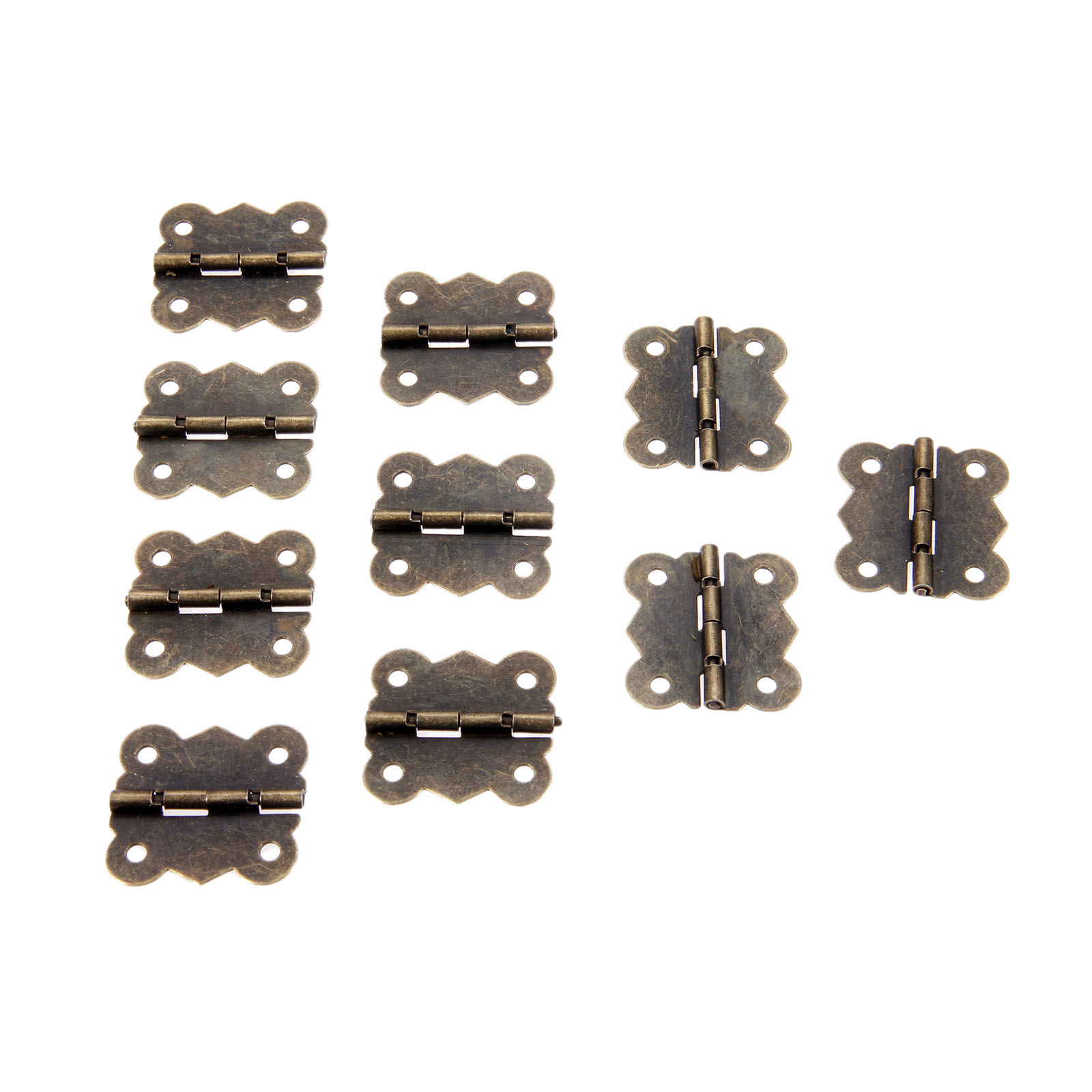 10Pcs 39x27mm Antique Bronze Cabinet Door Hinges Furniture Accessories Jewelry Wood Boxes Hinge Furniture Fittings For Cabinets in Cabinet Hinges from Home Improvement