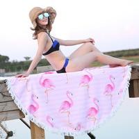 FashionMove Microfiber Round Beach Towel 150cm Bath Towels Flamingo Pattern Summer Women Sandy Swimming