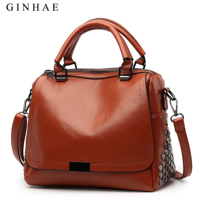 2018 Women Bag High Quality Pu Leather Casual Tote Hand Bags Female Vintage Shoulder Bags Metal Geometric Pattern Sac A Main