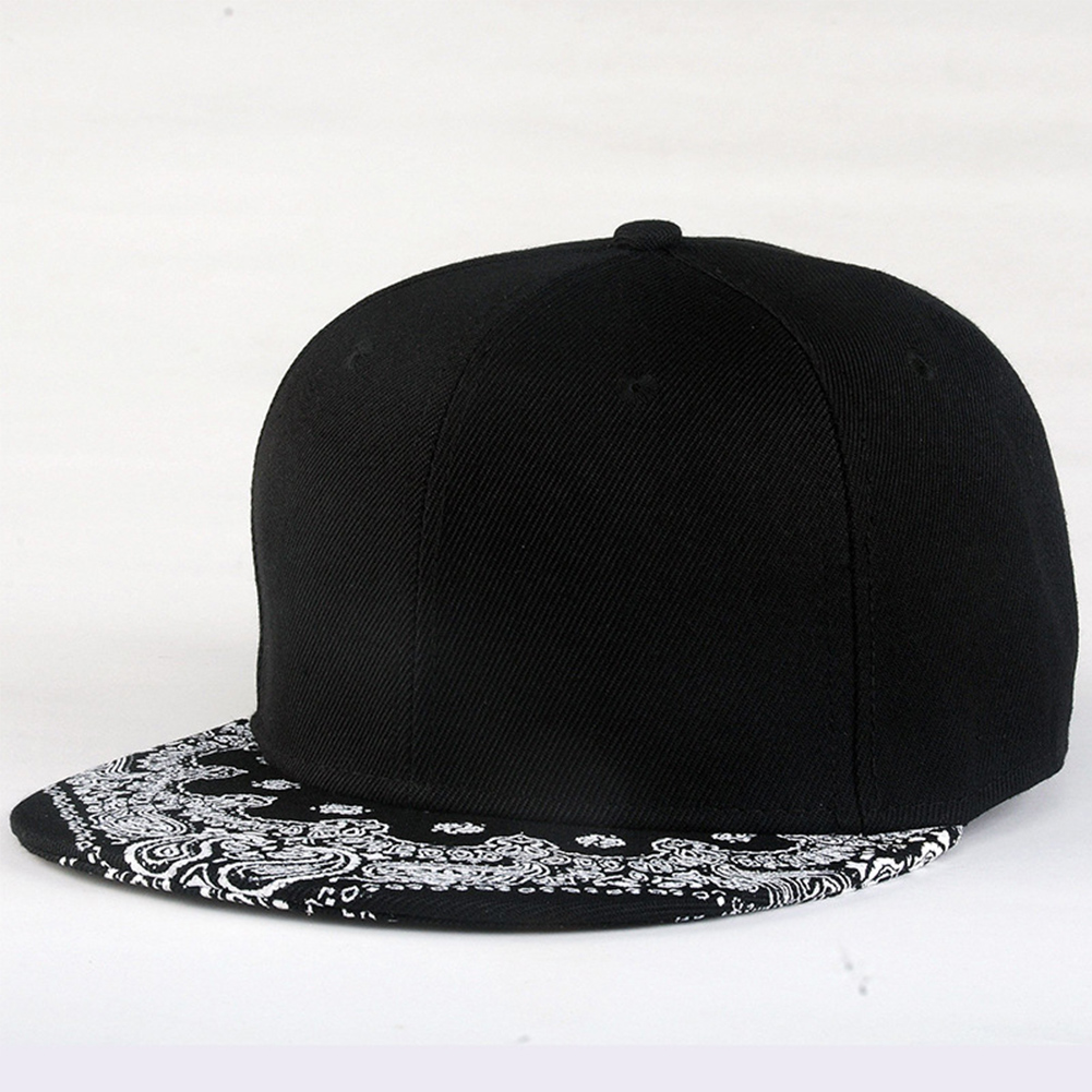 White Paisley Pattern Black Hat New Fashion Outdoor Man Women Summer Baseball Cap Sun Hat Adjustable Hip Hop Snap Back Caps Hat