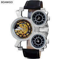 2015 New Watches Men Luxury Brand BOAMIGO Steampunk Sports Watches Automatic Mechanical Quartz Watch Leather Band