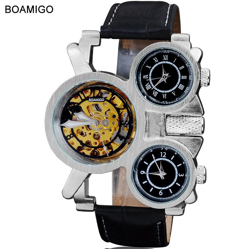 a8264348b 2015 جديد الساعات الرجال الفاخرة العلامة التجارية BOAMIGO steampunk الرياضة  الساعات الميكانيكية التلقائية ساعة كوارتز حلقة من جلد ساعات المعصم