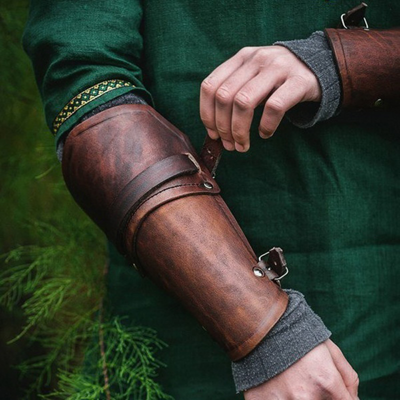 1 Pair Cosplay Props Faux Leather Wide Bracer Lace Up Arm Armor Cuff Cross String Steampunk Medieval Gauntlet Wristband 2