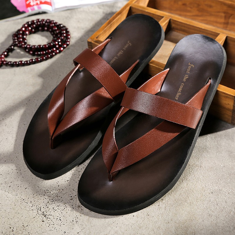 Flat With Beach Fashion Outside Men's Slippers Leisure Concise Genuine Leather Summer Flip Flops Sewing Men Shoes