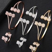 Роскошные модные Ювелирные наборы GODKI для женщин Свадебные циркониевые кристаллы CZ Дубай Свадебные наборы браслетов и колец современные женские серьги 2019