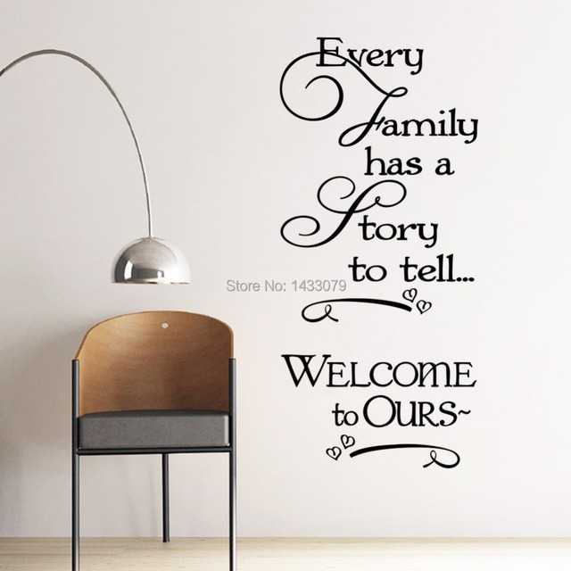 New Family Fashion Design Art Writing Anti Water Decorative Wall Decal Sticker For Baby