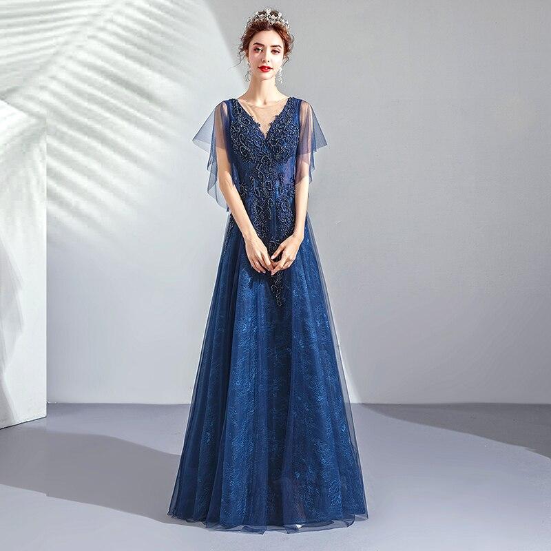 2019 Robe De soirée col en v longue grande taille femmes fête Robe De bal avec manches Vintage bleu Royal dentelle élégante Robe De soirée E223