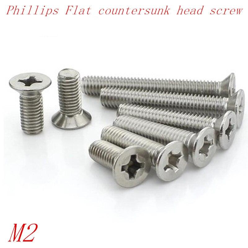 M2.5x8mm 304 Stainless Steel Phillips Flat Countersunk Head Machine Screws 50pcs
