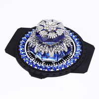 Car Air Freshener Crystals Flower Style Blue Perfume Bottle Auto Dashboard Decoration Ornament with anti slip Mat Great Gift