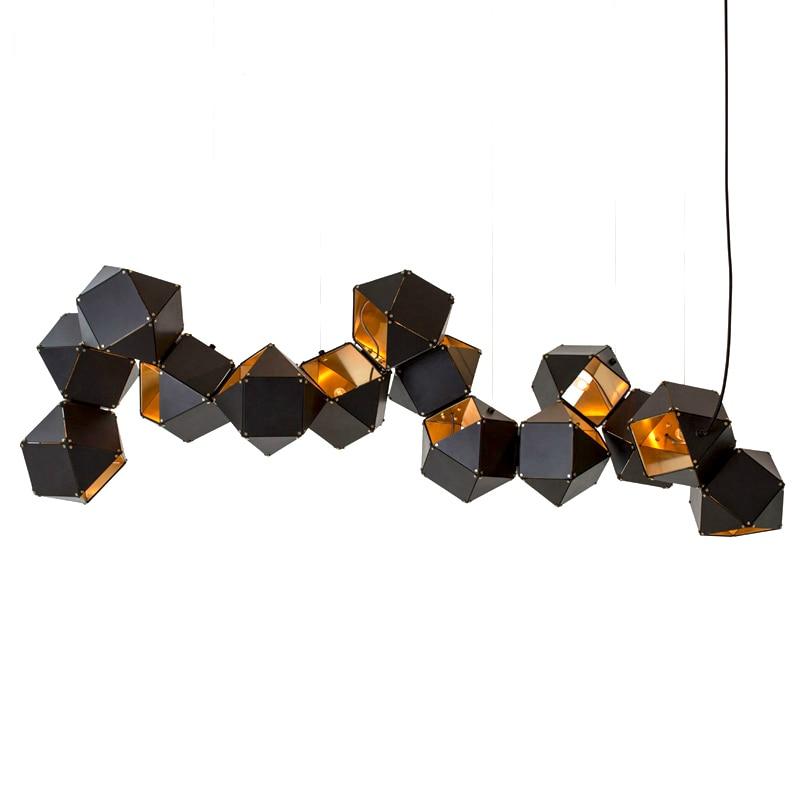 Ditoon Pós-moderna Led Estúdio De Metal Lâmpadas de Iluminação Restaurante Luz Pingente Designer'S Dna Criativo Luminária Branco Preto Brilho