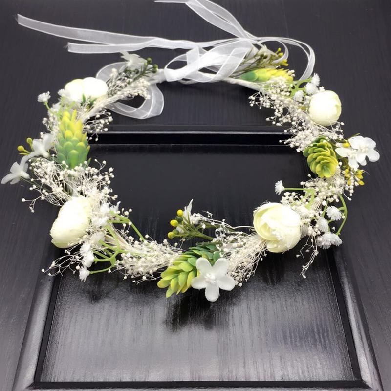 Wedding White Flower Crown: Real Small White Flower Wreath Bridal Headband Headdress