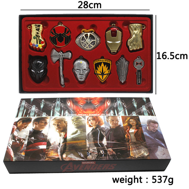 11pcs/lot Marvel Avengers Endgame Thanos <font><b>Gloves</b></font> Spiderman Iron Man Black Panther Thor&#<font><b>39</b></font>;<font><b>s</b></font> Axe Pendant Action Figure Model Toys image