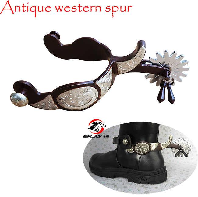 Frete grátis, antigo spur ocidental, cavalo spur, mão gravada gs guarnições. (rsp5112)