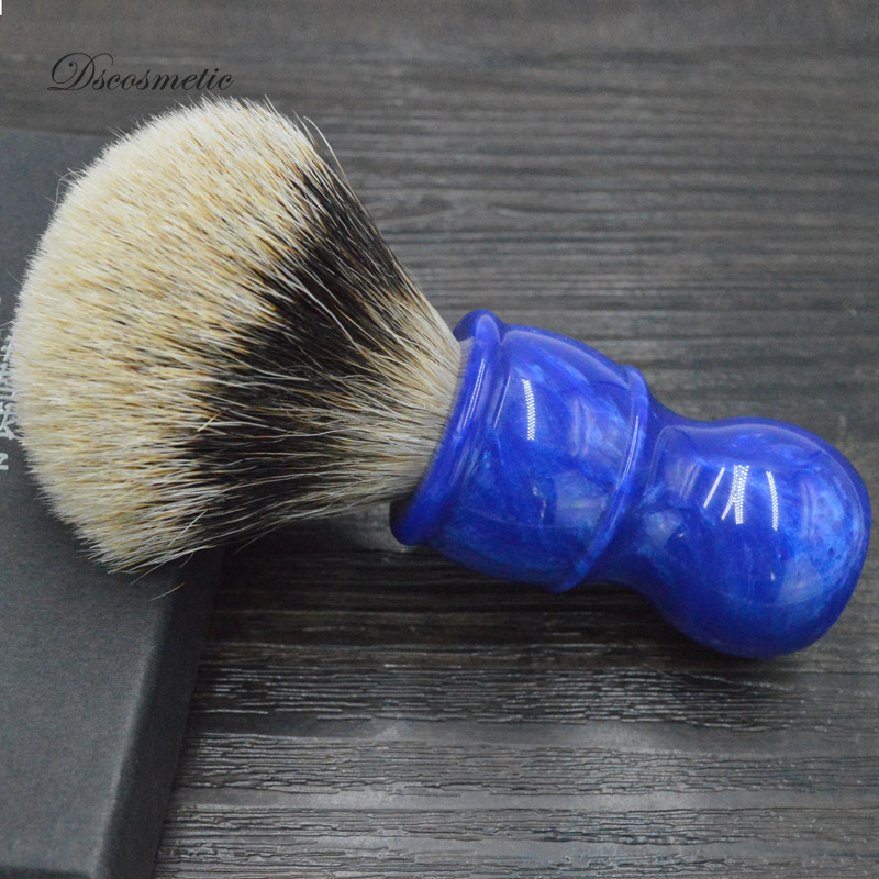 dscosmetic new blue ocean resin handle 24mm two band badger hair knot shaving brush for man wet shave two tone knot elastic hair band