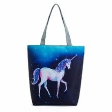 Unicorn Women Shopping Bag Casual Canvas Tote Handbag Women Shoulder Bag Cartoon Animals Printed Lady Female Bag bao Sac a main