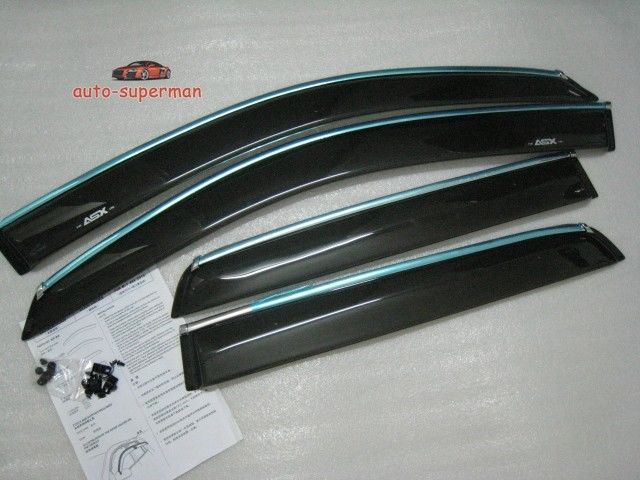 Window Visor Vent with chrome trim FOR MITSUBISHI ASX RVR 2010 2011 2012 2013 2014 дефлектор капота skyline mitsubishi asx rvr 2010 long