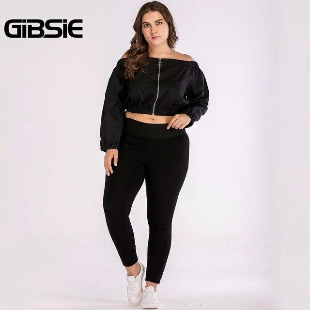 GIBSIE Plus Size Women Clothing Black Off Shoulder Top Tees 4XL Autumn Women Long Sleeve Crop Top 2018 Streetwear Casual T-Shirt 5