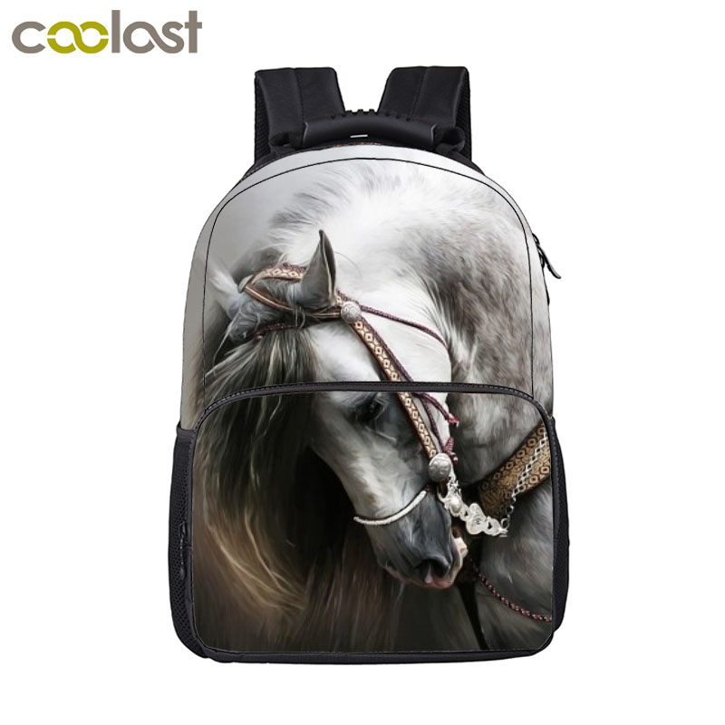 Animal Horse / Lion / Tiger / Wolf / Owl Backpack Women Men Casual Bag Teenage Boys Girls Children School Bags Student Backpack