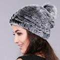 Gorros de inverno chapéu de pele para as mulheres de malha rex rabbit fur hat com pom pom raposa