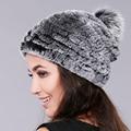 Gorros de invierno sombrero de piel para las mujeres de punto de conejo rex sombrero de piel de zorro con pom pom